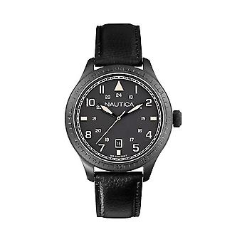 Nautica A11107G BFD 105 Men's Black Leather Watch - Black