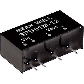 Mean Well SPU01N-12 DC/ DC converter (module) 84 mA 1 W Nee. van de uitgangen: 1 x