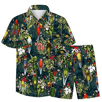 Allthemen Men's 3D Parrot Flowers Suits 2-Pcs Camisa&Shorts
