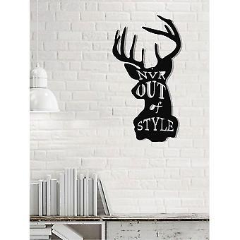 Wanddekoration Hirsch 2 schwarz Farbe in Metall 50x0,16x27 cm