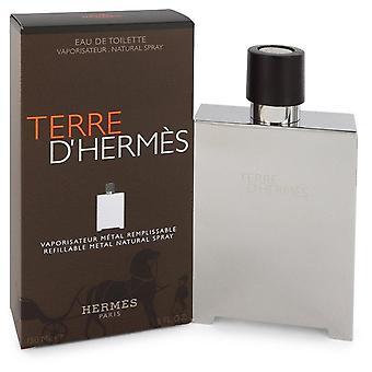 Terre D'hermes Eau De Toilette Spray nachfüllbar (Metall) von Hermes 5 oz Eau De Toilette Spray nachfüllbar