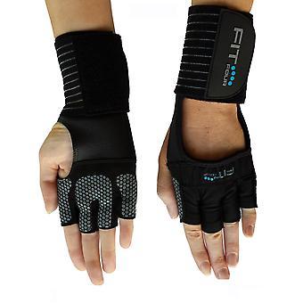 Fit fyra spartanska grepp Fitness styrketräning handskarna - svart