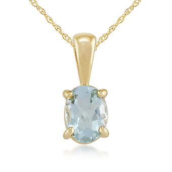 Classic Oval Aquamarine Pendant Necklace in 9ct Yellow Gold 10740