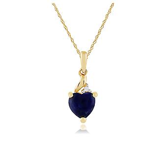 Classic Heart Lapis Lazuli & Diamond Pendant Necklace in 9ct Yellow Gold 135P1565029