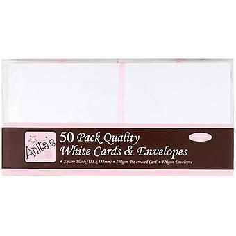بطاقات &s المربعة مغلفات بيضاء (50pk) (ANT 1512020)