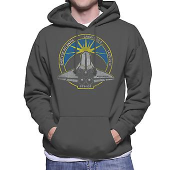 NASA STS 132 Atlantis Mission Badge Distressed Men's Hooded Sweatshirt