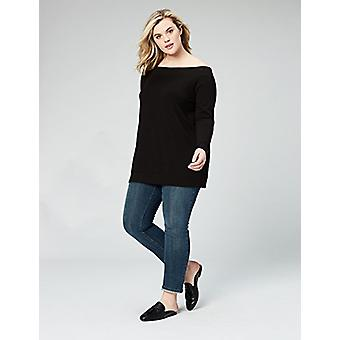 Marca - Daily Ritual Women's Plus Size Terry Cotton e Modal Cold Shoulder Tunic, 5X, Black