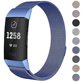Fitbit Charge 4 /Charge 3 Hihna Milanese ranneke ruostumaton teräs magneettinen [pieni (5.3&-7.9&;),Sininen]