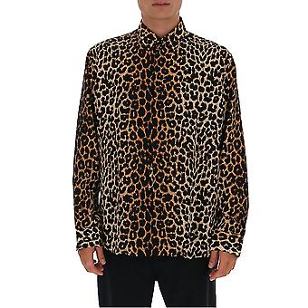 Saint Laurent 564172y2b099665 Men's Leopard Silk Shirt