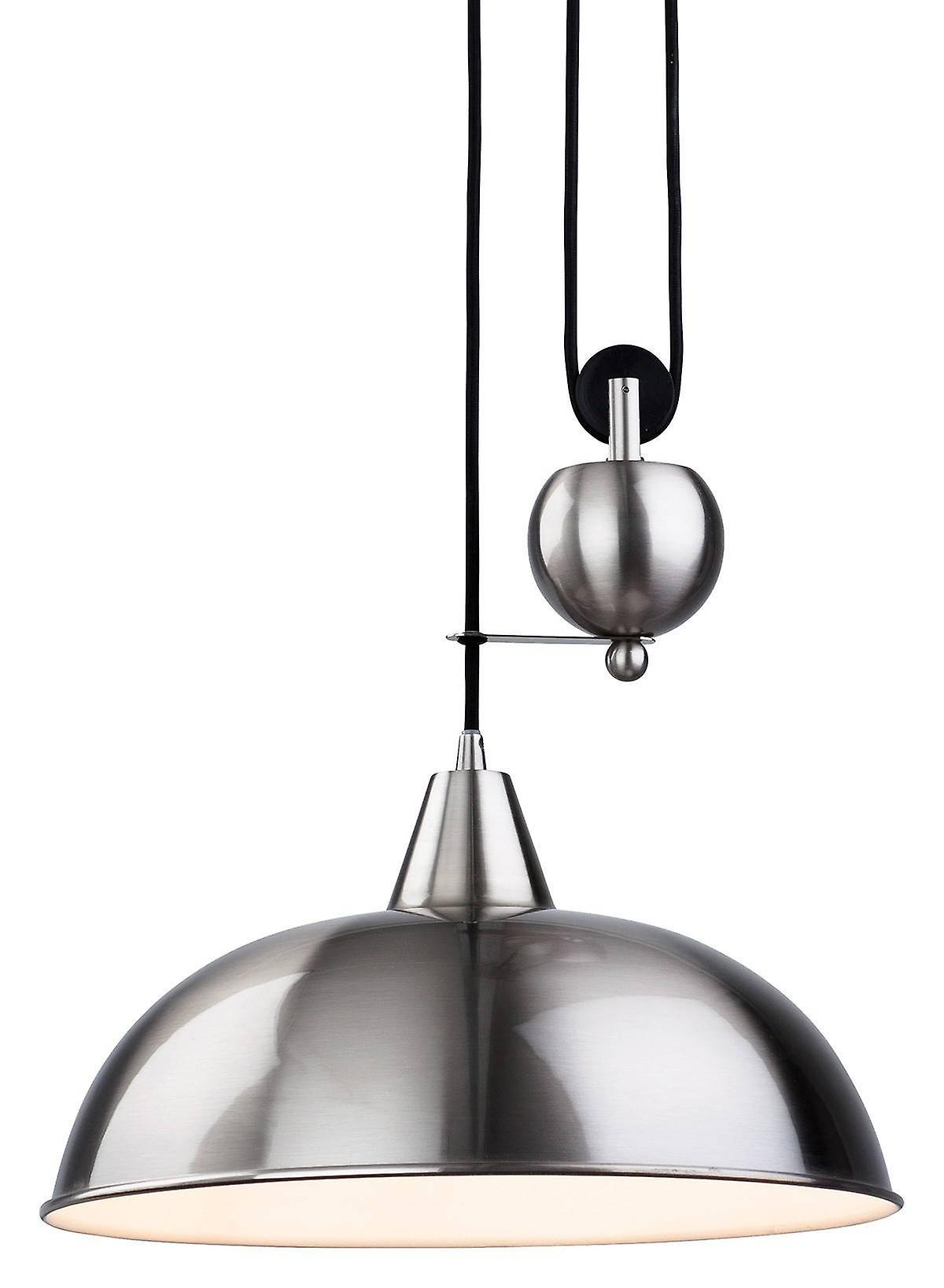 1 Light Rise & Fall Dome Ceiling Pendant Brushed Steel, E27