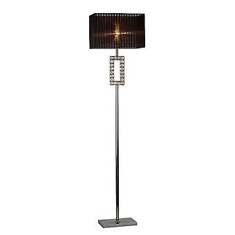 Renctangle gulvlampe med sort skygge 1 let poleret krom, krystal