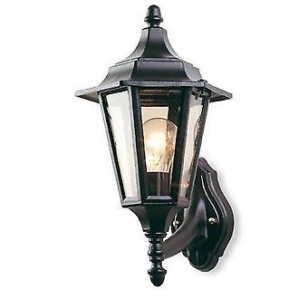 Første lys - 1 lys utendørs 6 panel lanterne - uplight svart IP43, E27