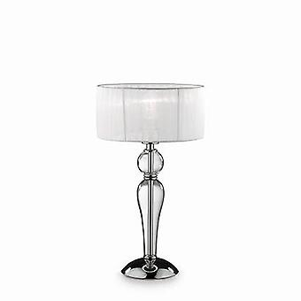 1 Light Small Table Lamp Chrome, White, Clear and Glass with Shade, E27