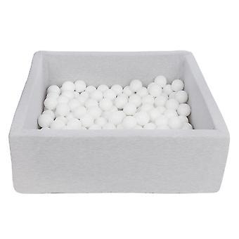 Kwadratowy pit kulkowy 90x90 cm ze 150 kulkami białymi