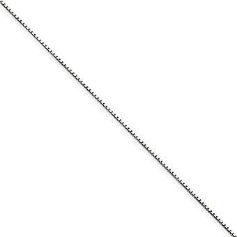 14 k oro bianco solido lucido aragosta artiglio chiusura .90mm casella catena cavigliera - 9 pollici - Lobster Claw