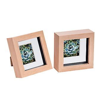 Nicola Spring 2 Piece 4 x 4 3D Shadow Box Photo Frame Set - Craft Display Picture Frame - Glass Aperture - Light Wood