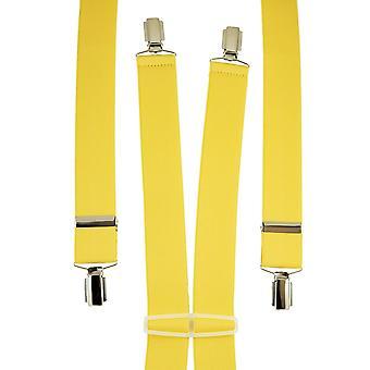 Krawaty Planet Plain Yellow Men&s Spodnie Szelki - Srebrne Klipsy