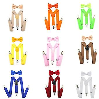 Fashion Kids Boys Girls Solid Elastic Suspenders Clip-on Y-shaped Adjustable