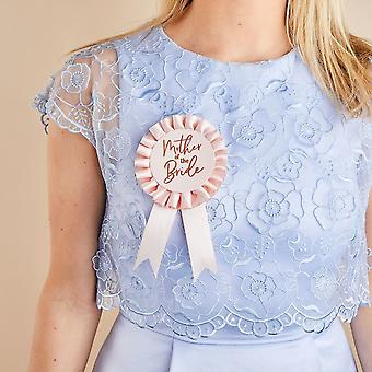 Pink & Rose Gold Mother of the Bride Rosette Badge -Hen Party