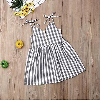 Pudcoco Summer Toddler Baby Girl Clothes Sleeveless Striped Strap Dress- Outfit Summer Clothes Sundress