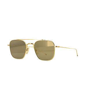 Thom Browne TBS907 01 White Gold/G15-Gold Mirror Sunglasses