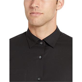 Essentials Men's Slim-Fit Wrinkle-Resistant Stretch Dress Shirt, Preto...