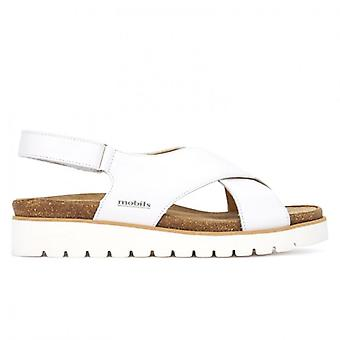 Mephisto Tally White Sandals With Crossed Bands