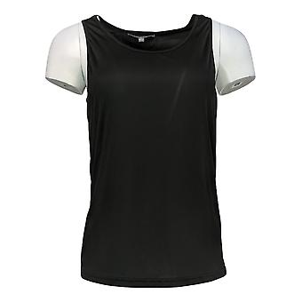 Lisa Rinna Collection Women's Top Dip Dye Crossover W/ Tank Black A299568
