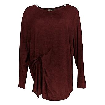 DG2 by Diane Gilman Women's Plus Sweater Red Round Neck Polyester 698-426