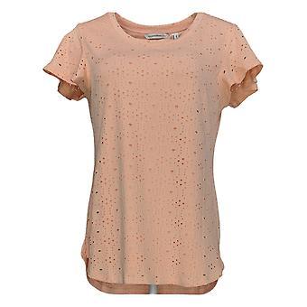 Isaac Mizrahi Live! Women's Top Flutter-Sleeve Eyelet Knit Orange A354032