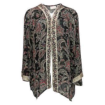 Belle By Kim Gravel Women's Sweater Chiffon W/ Embroidery Black A383472