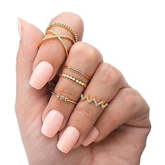 Fashion Midi Round Twist Weave Ring Set, Fashion Jewelry Elegant Classic Rings