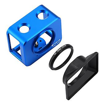 PULUZ for Sony RX0 Aluminum Alloy Protective Cage + 37mm UV Filter Lens + Lens Sunshade with Screws and Screwdrivers(Blue)