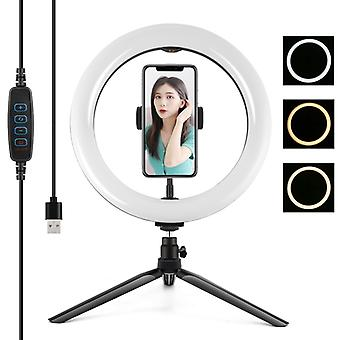 PULUZ 10.2 inch 26cm Light + Desktop Tripod Mount USB 3 Modes Dimmable Dual Color Temperature LED Curved Diffuse Light Ring Vlogging Selfie Photograph