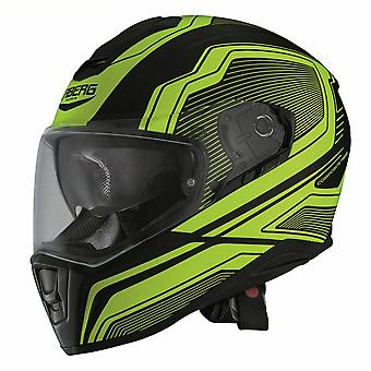 Caberg Drift Flux Helmet Matt Black/Yellow Integrated Sun Visor ACU Approved
