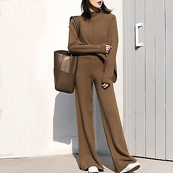 Genayooa Winter Tracksuit Pant Suits Knitted Long Sleeve Two Piece Set Top