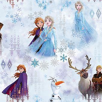 Disney Frozen 2 Wonder Bakgrund Blå Muriva 159510