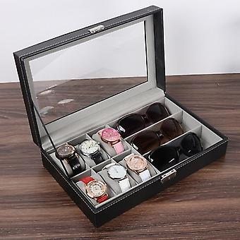 Window Black Leather Watch Box, Étui, Organisateur de support professionnel