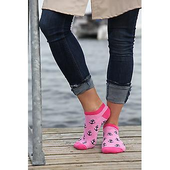 Soft Low-cut Striped With Anchor Pattern Cotton Socks