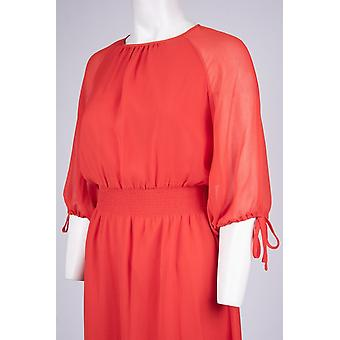 3/4 Sleeve Jewel Neckline Smocked Waist A-line Dress