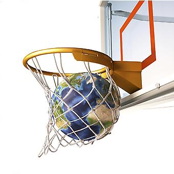 3D rendering of planet Earth falling into a basketball hoop Poster Print