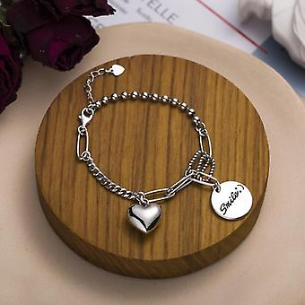 925 Sterling Silver Couple Love Heart Pendant/bracelet