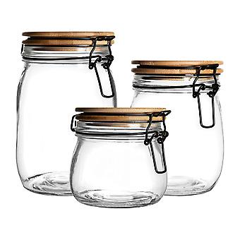 3 Piece Airtight Storage Jars with Wooden Lid Set - Round Scandinavian Style Glass Canister - Black Seal