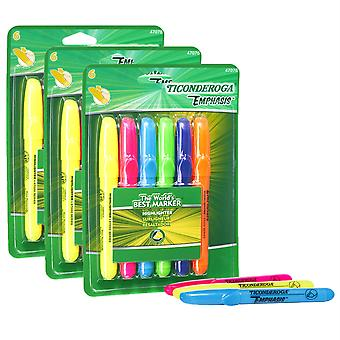 Emphasis Highlighters, Desk Style, Chisel Tip, 6 Assorted Colors, 3 Packs