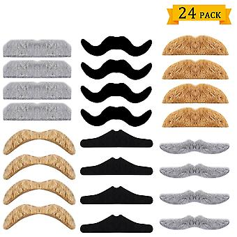 Whaline 24 pack novelty fake moustache halloween self adhesive moustaches set for masquerade party f