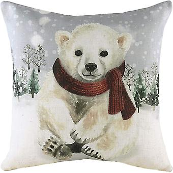 Evans Lichfield Snowy Polar Bear Cushion Cover