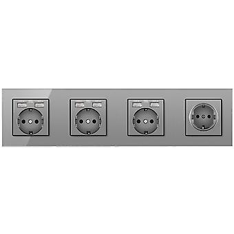 Glass Panel Four-slot Power Socket Without Pins With 6 Usb Charging Port