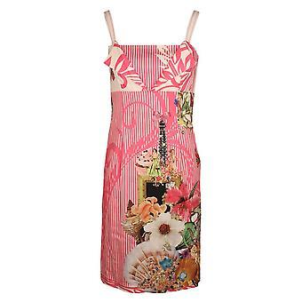 Fehu Pink & White Striped Vintage Print Sleeveless Cotton Summer Dress