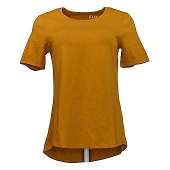 Denim & Co. Top DONNA XXS Anywear Jersey V Neck 3/4 Maniche Giallo A383275