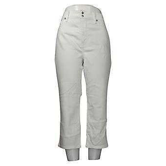NYDJ Women's Jeans Cool Embrace Skinny Cropped Side Slits White A377695